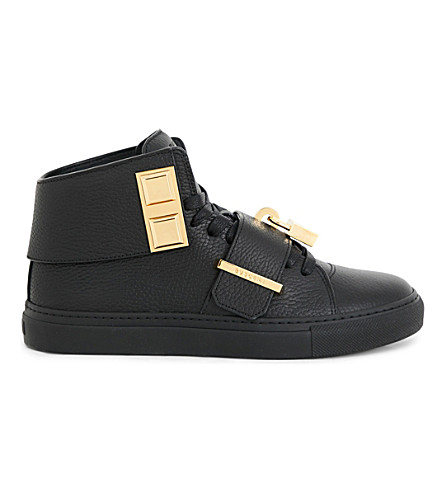 BUSCEMI Trap 100mm grained-leather mid-top trainers