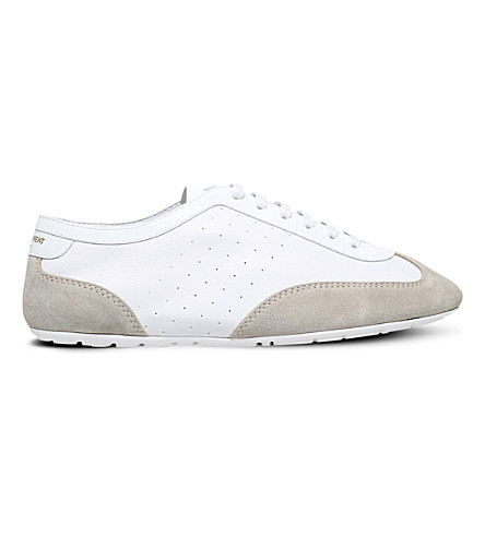 SAINT LAURENT Lou perforated leather trainers (White
