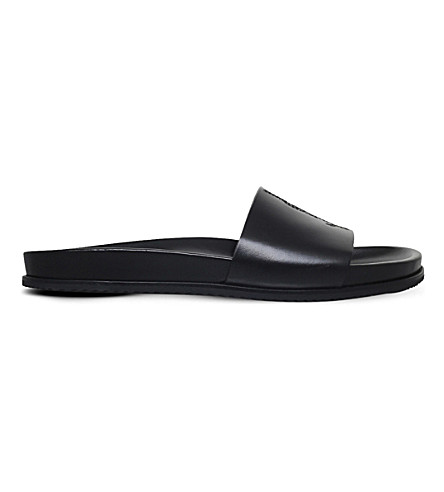 SAINT LAURENT Jimmy leather pool slides (Black