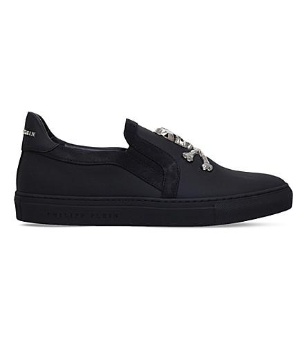 PHILIPP PLEIN Crystal skull leather skate shoes (Black