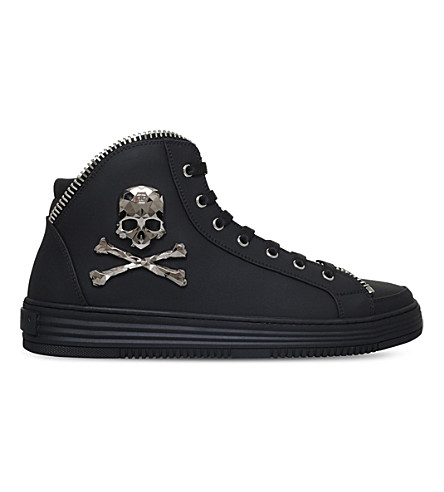 PHILIPP PLEIN Super Dothan leather mid-top trainers
