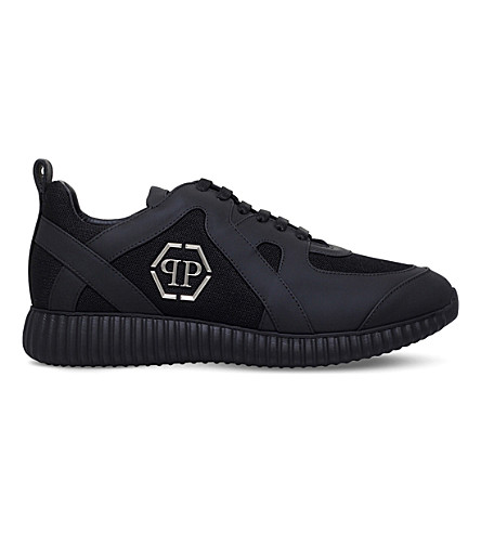 PHILIPP PLEIN Overlay-detail leather and fabric trainers (Black