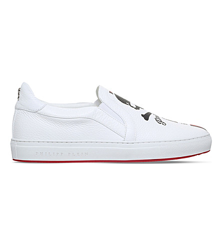 PHILIPP PLEIN Maywood striped leather skate shoes (White/red