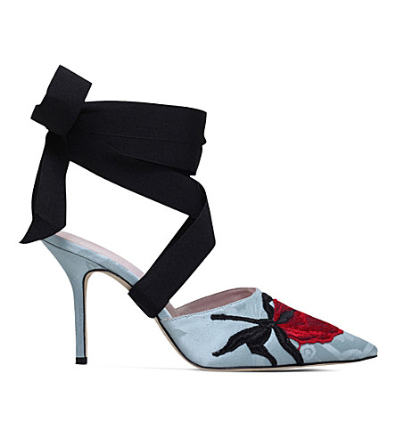 CHRISTOPHER KANE Christopher Kane Beauty and the Beast jacquard heel slippers