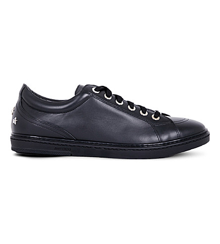 JIMMY CHOO Cash star-studded leather sneakers (Black