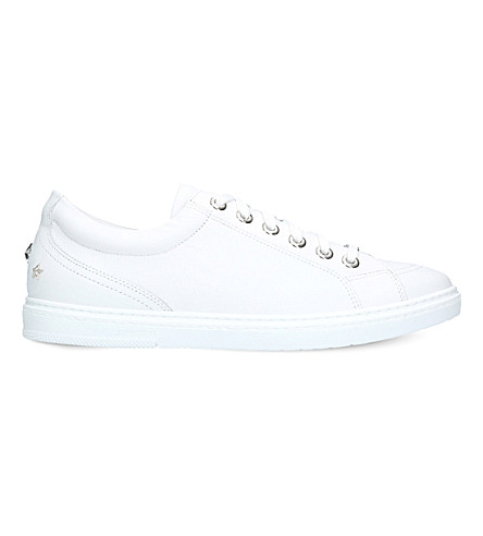 JIMMY CHOO Cash star-studded leather trainers (White