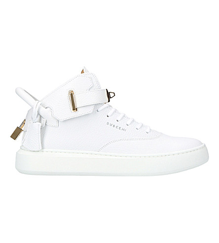 BUSCEMI 100mm core clip leather trainers (White