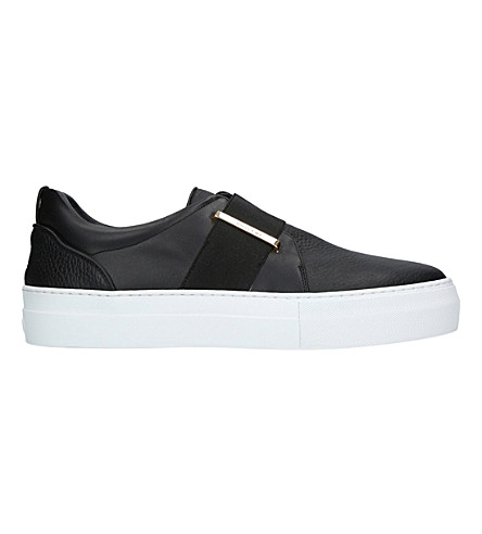 BUSCEMI 40mm band leather and velvet trainers (Black