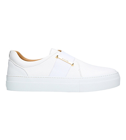 BUSCEMI 40mm band leather and velvet trainers (White