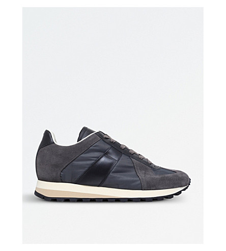 MAISON MARGIELA Retro Runner suede and leather trainers (Grey/d.cmb