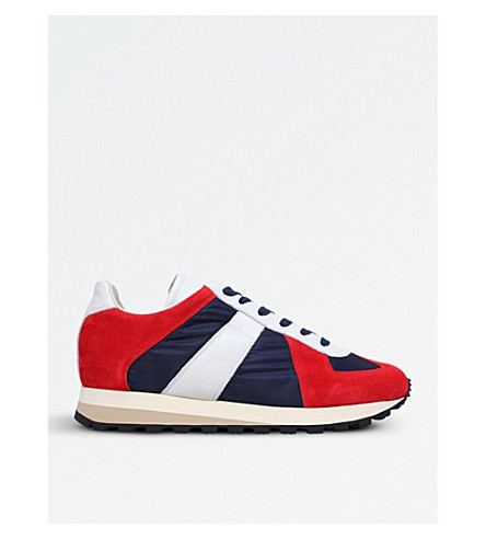 MAISON MARGIELA Retro Runner suede and leather trainers (Blue+other