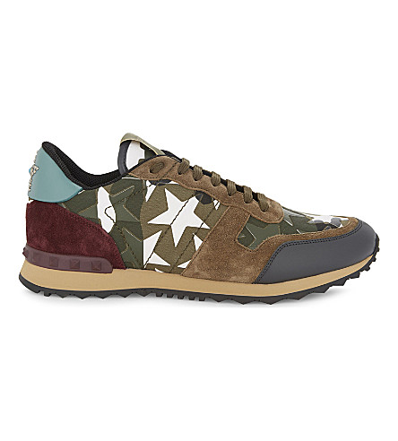 VALENTINO Rockrunner suede and leather sneakers (Khaki