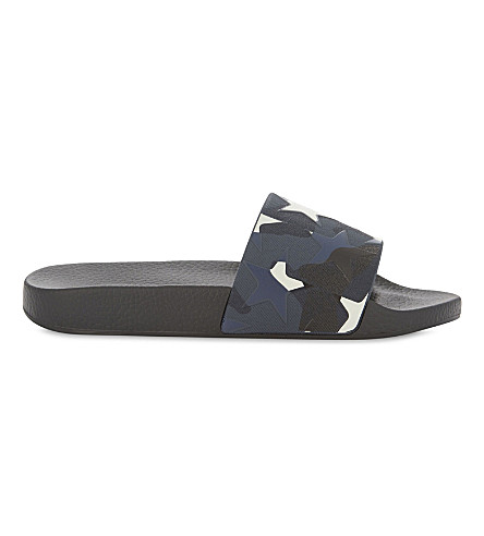 VALENTINO Star camo-print sliders (Black/comb