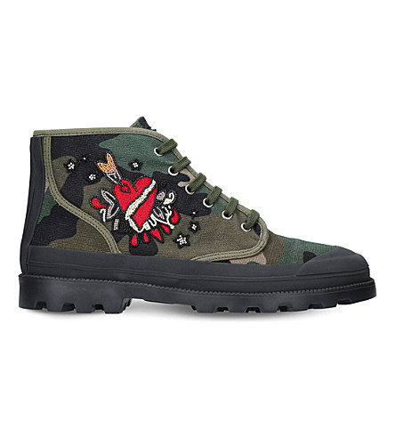 VALENTINO Beaded Camouflage high-top canvas trainers (Khaki
