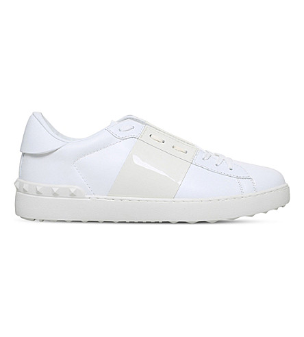 VALENTINO Open patent-trim leather trainers (White/oth