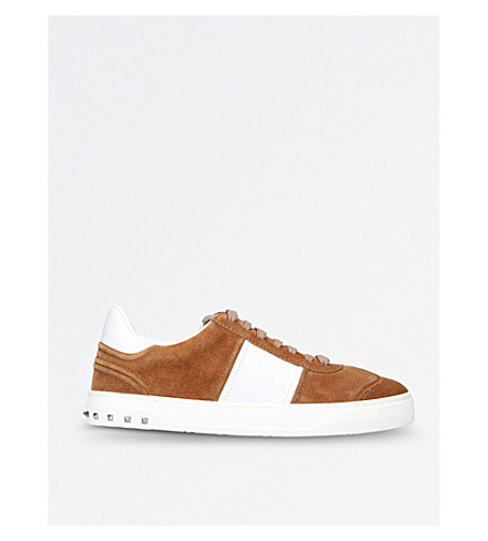 VALENTINO Fly Crew suede and leather trainers (Beige