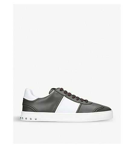 VALENTINO Fly Crew leather trainers (Khaki