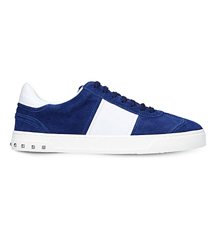 VALENTINO Flycrew studded suede sneakers (Blue