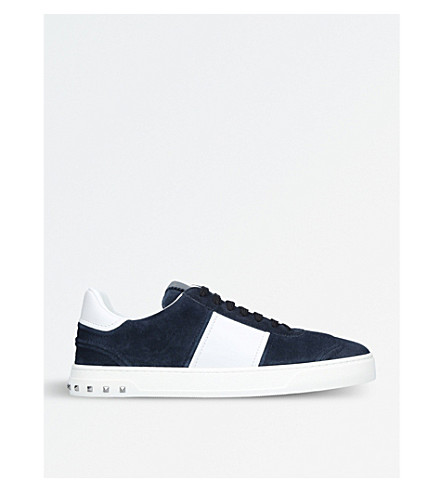 VALENTINO Fly Crew leather and suede trainers (Navy