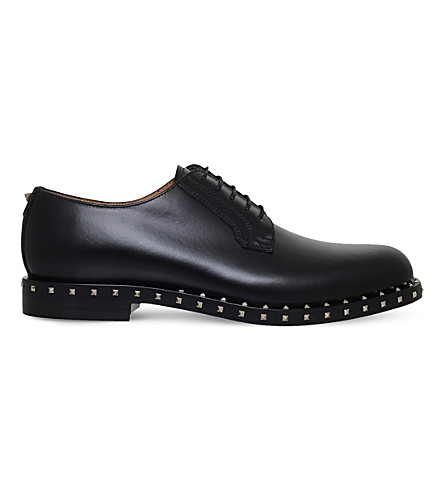 VALENTINO Rockstud leather derby shoes (Black