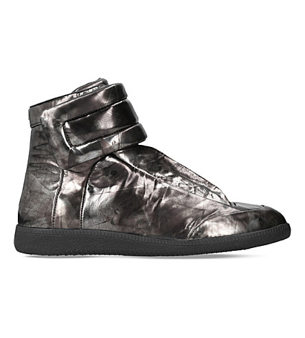 MAISON MARGIELA Future metallic-leather high-top sneakers (Grey/d.cmb