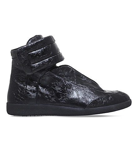 MAISON MARGIELA Future cracked leather high-top trainers (Black