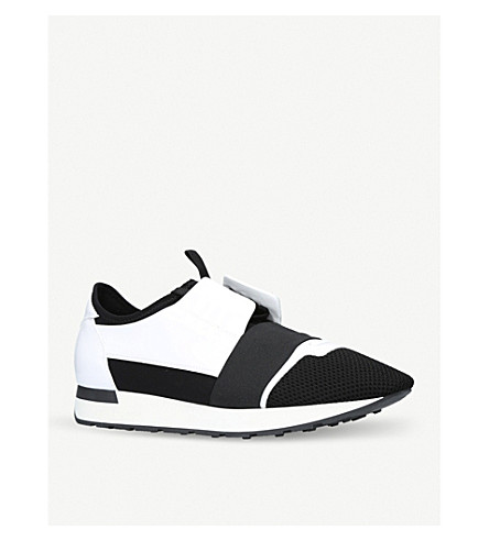 BALENCIAGA Race Runners leather, neoprene, jersey and mesh low-top trainers (White/blk
