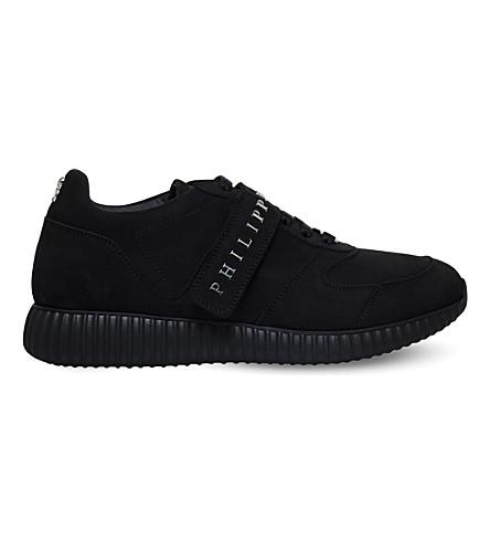 PHILIPP PLEIN Ten strap leather trainers (Black