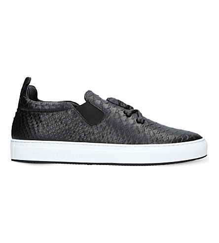 PHILIPP PLEIN Casper skull leather skate shoes (Black