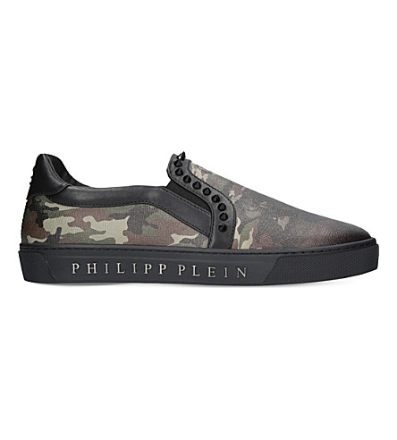 PHILIPP PLEIN Kobe camouflage-print leather skate shoes (Green+oth