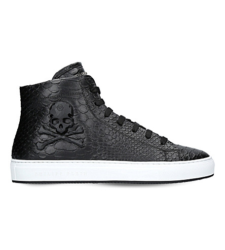 PHILIPP PLEIN Karlson skull leather trainers (Black