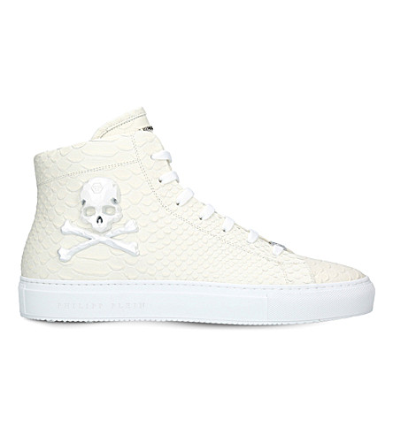 PHILIPP PLEIN Karlson skull leather trainers (White
