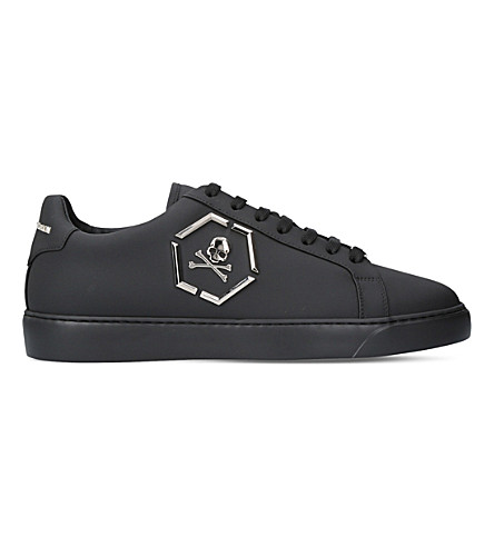 PHILIPP PLEIN Skull leather trainers (Black