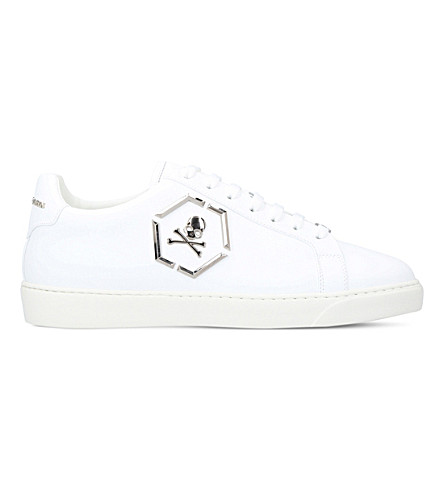 PHILIPP PLEIN Skull leather trainers (White