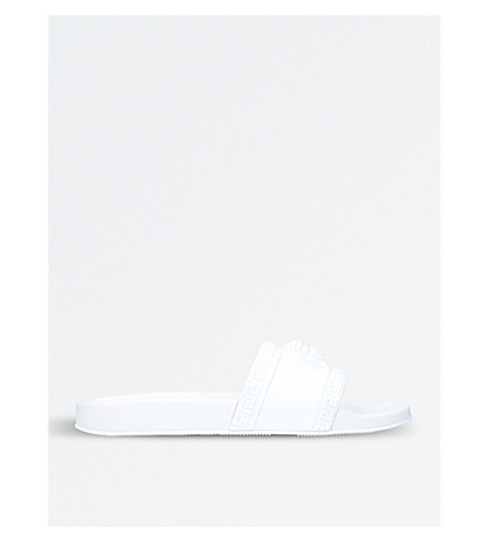 VERSACE Medusa rubber slider sandals (White