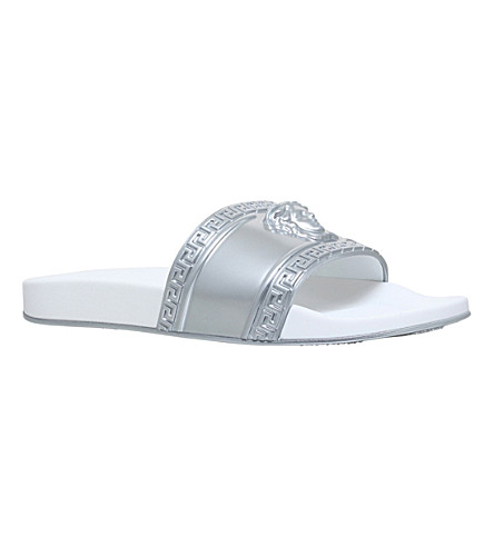 VERSACE Medusa Metallic Slide Sandals in Silver
