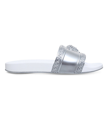 VERSACE Medusa metallic slide sandals (Silver