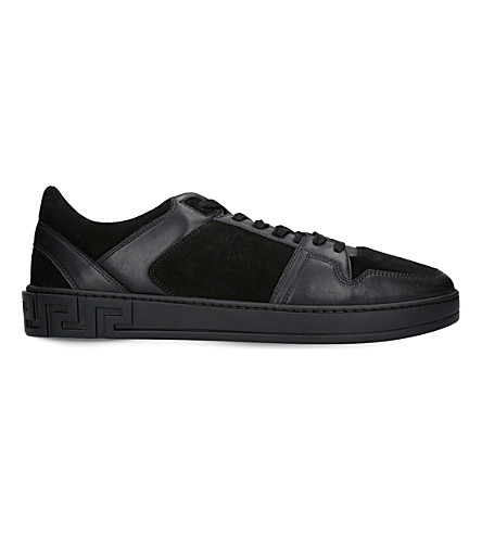 VERSACE Greco leather and suede trainers (Black