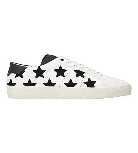 SAINT LAURENT Court star leather trainers (Blk/white