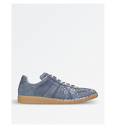 MAISON MARGIELA Paint splatter Replica leather trainers (Pale+blue