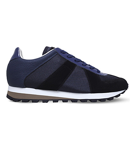 MAISON MARGIELA Retro Runner suede and leather trainers (Navy
