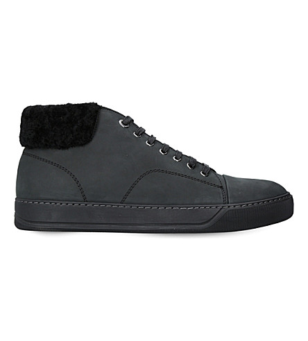 LANVIN Fold-over suede trainers (Black
