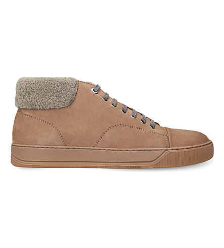 LANVIN Fold-over suede trainers (Tan