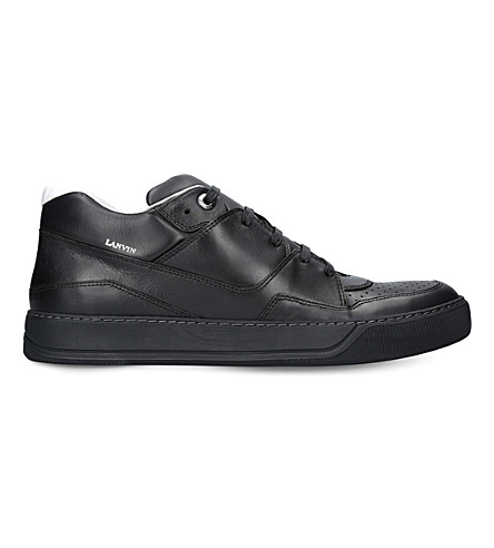 LANVIN Mid-top leather trainers (Black