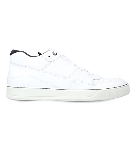 LANVIN Mid-top leather trainers (White