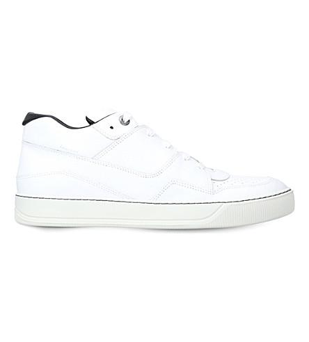 LANVIN 中顶皮革运动鞋 (白色