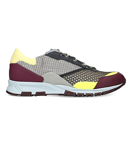 LANVIN Patchwork leather and mesh trainers (Grey/other