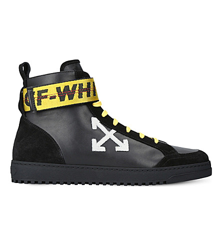 OFF-WHITE C/O VIRGIL ABLOH Security leather high-top trainers (Black