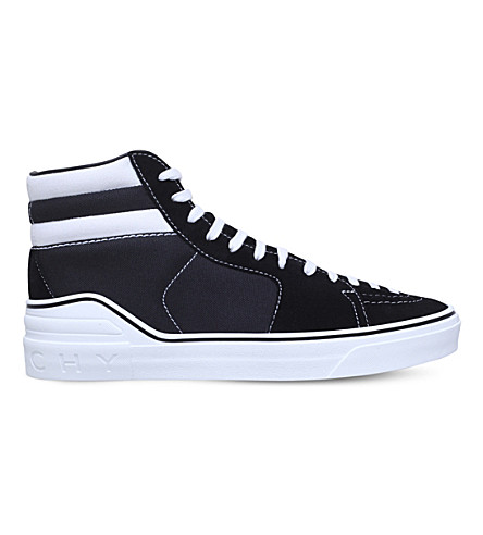 GIVENCHY George V suede high-top trainers (Blk/white