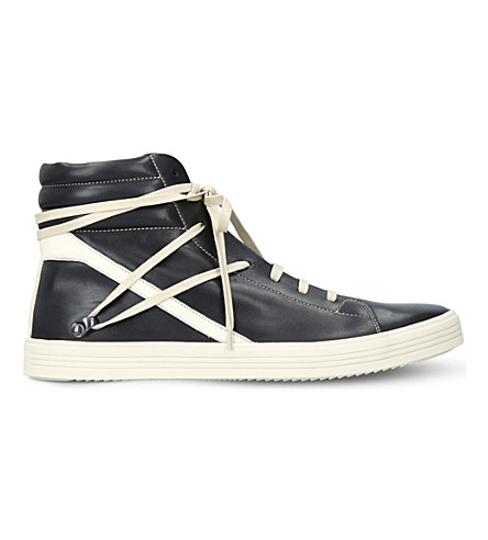 RICK OWENS Thrasher wrap-around leather trainers (Black